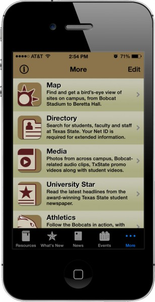 Txstate app on iPhone4s. Main content was also off-audience.