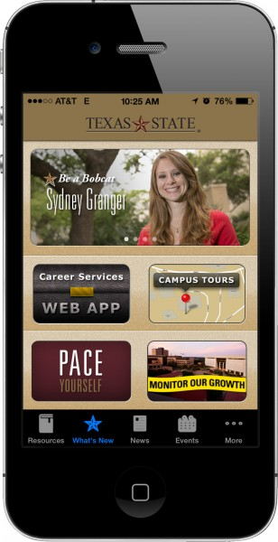 Majority of home screen content is not relevant to users. Txstate app on iPhone4s.