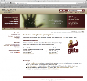Gato CMS basic page layout. This is in use by many thousands of university pages